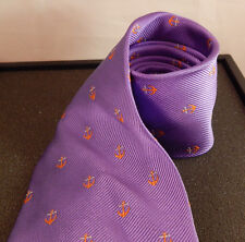 Duck Head 100% Silk Tie Purple With Anchors Nautical-Beachy themes- Any Occasion