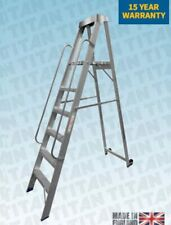 More details for platform retail step ladders foldable with wheels and handles, ideal for shops.