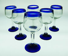 Mexican Glass, wine, blue rim, hand blown by artist, 10 oz (set of 6)