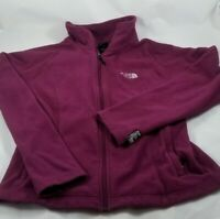 North Face Small Fitted Full Zip Mock Neck Fleece Logo Purple Jacket Women's