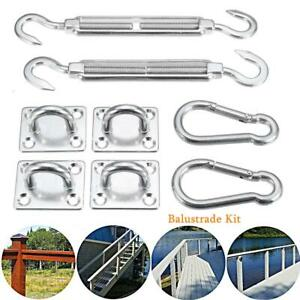 8X Stainless Steel Sun Fixing Fittings Sail Shade Kit Garden Awning Canopy Tools