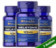 Puritan's Pride Melatonin 10 mg - 180 Capsules Sleep Aid relax mood energy rest