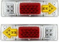 19 LED Clear Lens Red Amber White Trailer Tail Light Bar 12V Turn Signal Running