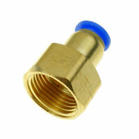 "2pcs 6mm Tube OD X 3/8"" BSPT Air Pneumatic Brass Push Fitting  Female Connector"