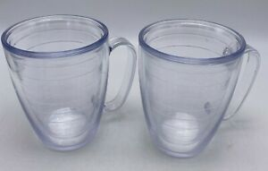 Tervis Tumbler 17 oz Clear Mugs Insulated Cups w/ Handles SET OF 2