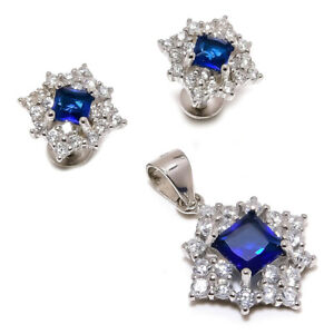 Attractive Blue Sapphire, White Topaz 925 Sterling Silver Jewelry Set SS-22