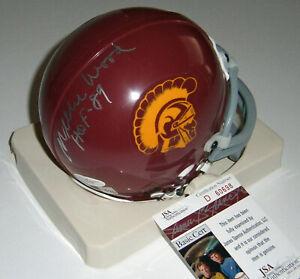 USC Willie Wood signed mini helmet w/ HOF 89 AUTO JSA COA Autographed Trojans