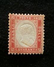 1862 EFFIGIE DI VITTORIO EMANUELE II - 40 CENT.  ROSSO, NUOVO CON GOMMA +