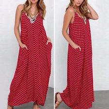 PLUS SIZE Summer Women Hippie Long Maxi Polka Dots Loose Beach Sundress Dress