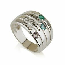 Mothers Ring Engraved Birthstone Ring 4 Stones Ring -925 Sterling Silver