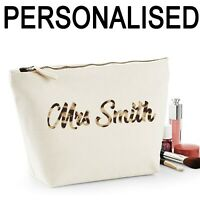 Teacher Thank You Gift Personalised Women's Make Up Accessory Bag Leopard Print