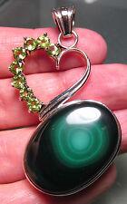 925 silver 18gr oval green malachite & cut peridot gemstones pendant.