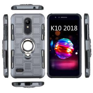 For LG K40 K50 Q60 Stylo 5 Q6 Q7 Ring Magnetic Car Bracket Phone Case Back Cover