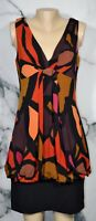 AGB Black Red Gold Orange Magenta Brown Patterned Dress 12 Draped Back Bubble