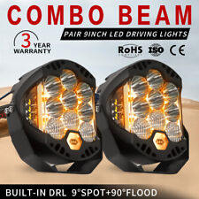 2X 9 inch CREE LED Driving Lights Round Spot Lights Built-in DRL Combo Beam