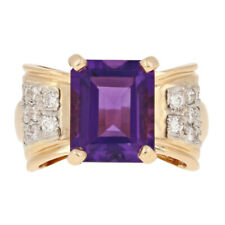 4.65ctw Rectangle Cut Amethyst & Diamond Ring - 14k Yellow Gold Size 8
