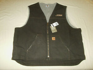 NWT CARHARTT LB WATER FULL ZIP BROWN SHERPA LINED CANVAS WORK VEST MENS 3XL