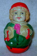 "Antique 4"" Tall Schoenhut (?)  Roly-Poly Rolly Dolly  Girl Doll Marked 1929"
