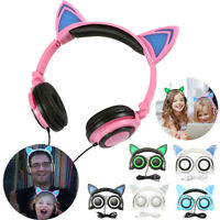 Cute Foldable LED Light Up Cat Ear Headphones Headset Earphone Glowing Universal