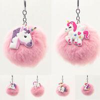Unicorn Faux Rabbit Fur Ball Fluffy Pompom Key Chains Women Bag Car Keyring New
