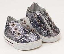"NIP- Gray Glitter Sneakers fit 18"" dolls inc. American Girl, Bitty Baby"