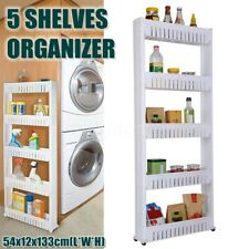 5-Tiers Mobile Shelving Storage Shelf Cabinet Organize Kitchen Office W/ Baskets