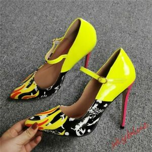 Womens Pointed Toe Ankle Strap Shoes Stiletto High Heel Pump Multi Colored Shoes