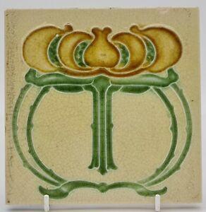 ART NOUVEAU TILE RELIEF MOLDED DESIGN MANUFACTURED BY JOHN BARRATT C.1906