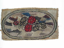 Antique hooked rug vintage flowers red green brown handmade as is for repair