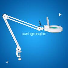 Lámpara articulada lupa 5 diaptrias lente circular  blanco mesa trabajo