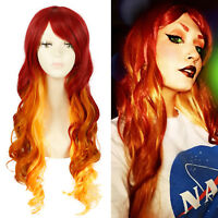 """Starfire 27"""" Long Curly Wavy Gradient Fire Red Ombre Cosplay Wig Halloween Wigs"""