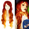 "Starfire 27"" Long Curly Wavy Gradient Fire Red Ombre Cosplay Wig Halloween Wigs"