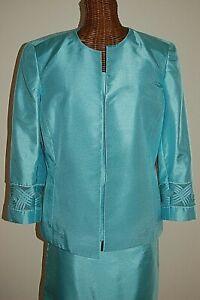 KASPER Stunning Aqua Blue Green 3 piece Suit ONCE WORN Special Occasion Sz 8