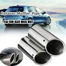 Stainless Steel Exhaust Tail Trim Muffler Pipe Tip For VW Golf 6 Mk6 Skoda Audi