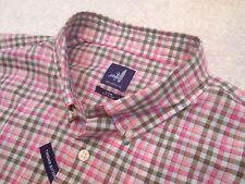 Johnnie-O 100% Cotton Sangria Pink Check Rawlings Sport Shirt XL $125