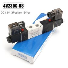 DC12V 4V230C-08 5 Way 3 Position Pneumatic Electric Solenoid Valve Air Control