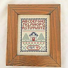 """Wood 6.5X7.5"""" Crossstitched 1989 Sampler Alphabet Sign"""