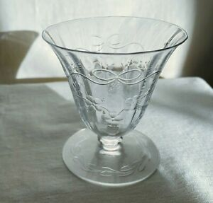 """ABCG rock crystal  oyster glass. Flowers, swags, bow. Pairpoint style 3 1/4"""" h."""