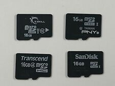 Lot of 4 Used 16GB Micro SDHC Memory Cards (PNY, SanDisk, Transcend Class 4/10)