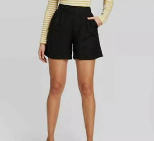 Women's Mid-Rise Linen Pull-On Shorts - A New Day - Black - L - S112