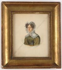 "Johannes Baptista van Acker (1794-1863) ""Portrait of a young lady"", watercolor"