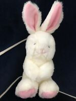 "VINTAGE KELLOGGS WHITE BUNNY PLUSH RABBIT 11"" TOY STUFFED ANIMAL PINK EARS FEET"