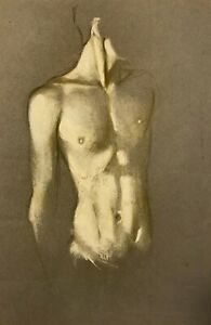 Newly Discovered--Robert R. Bliss (1925-1981) Nude Torso Painting (1959)