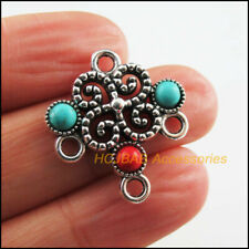 5 New Flower Charms Tibetan Silver Tone Colored Turquoise Connectors 23x25.5mm