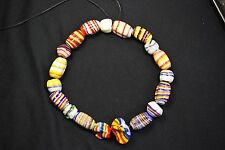 VTG: ~ Fancy Venetian Multi-Colored~Striped Oval & Pinched Trade Beads