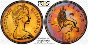 1971 GREAT BRITAIN 10 NEW PENCE PCGS PR66 PROOF TONED ONLY 3 GRADED HIGHER