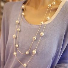Women Ladies Multilayers Simulation-Pearls Long Chain Sweater Necklace Gift HR