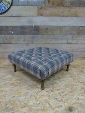 Alexander James Blake Fontaine footstool Chesterfield tartan stripe wool blue