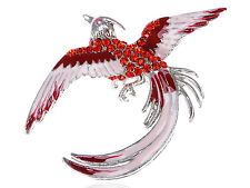 Fuchsia Diamante Rhinestone Phoenix Rebirth Life Bird Costume Pin Brooch Jewelry