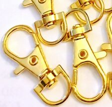 8 Large Golden Pewter Swivel Lobster Clasps 35x13mm for Key Rings & Dog Leashes